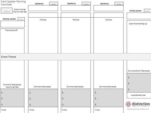 Event Speaker Planning Worksheet